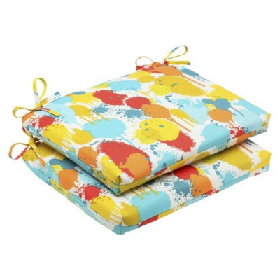 Pillow Perfect Outdoor 2-Piece Square Edge Seat Cushion Set - Blue/Yellow Neddick