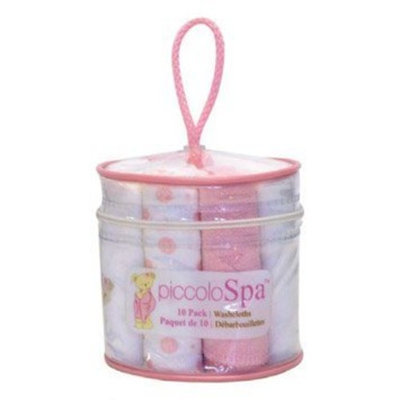 Piccolo Bambino Set of 10 Washcloths - Pink/White