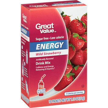 Great Value : Wild Strawberry 10 Packets Drink Mix
