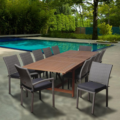 Delano 13 Piece Eucalyptus/Synthetic Wicker Extendable Rectangular Patio Dining Set with Grey Cushions