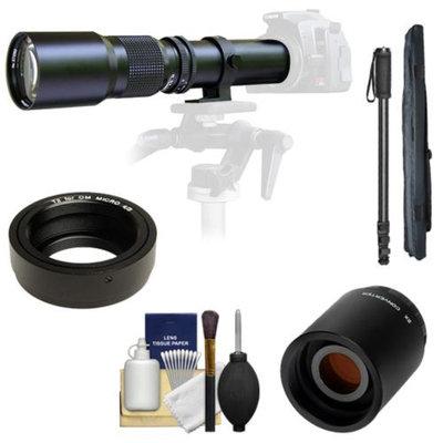 Samyang 500mm f/8.0 Telephoto Lens with 2x Teleconverter (=1000mm) + Monopod Kit for Olympus OM-D EM-5, Pen E-P2, E-P3, E-PL2, E-PL3, E-PM1 & Panasonic Micro 4/3 Digital Cameras