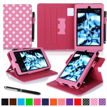 Kindle Fire HD 6 Tablet (2014) Case, roocase new Kindle Fire HD 6 Dual View Folio Case with Sleep / Wake Smart Cover with Multi-Viewing Stand for All-New Fire HD 6 Tablet (2014), Polkadot Pink