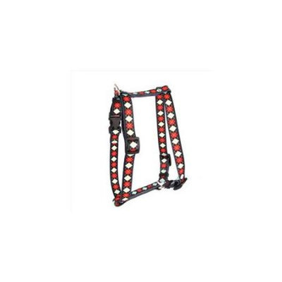 Yellow Dog Design H-RA103L Red Argyle Roman H Harness - Large