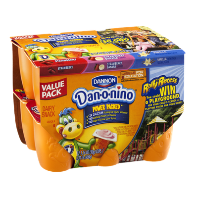Dannon Dan-o-nino Strawberry, Stawberry Banana and Vanilla Dairy Snack - 12 CT