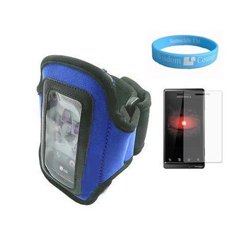Bestpriceshop Blue Armband for Microsoft Zune HD with Armband Armlength of 14.6 Inch + Screen Protector + Wristband