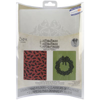 Sizzix Texture Fades Embossing Folders By Tim Holtz 2/Pkg-Holly Pattern & Wreath