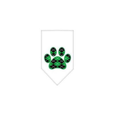 Ahi Argyle Paw Green Screen Print Bandana White Small