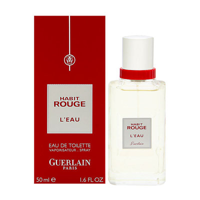 Habit Rouge L'eau by Guerlain for Men 1.6 oz EDT Spray