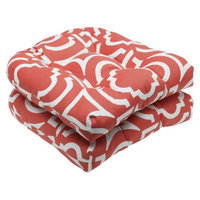 Pillow Perfect Outdoor 2-Piece Wicker Seat Cushion Set - Orange/White Carmody