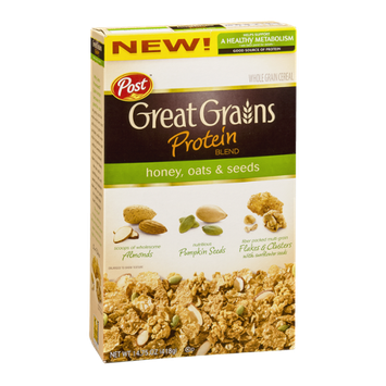 Post Great Grains Protein Blend Whole Grain Cereal Honey, Oats and Seeds