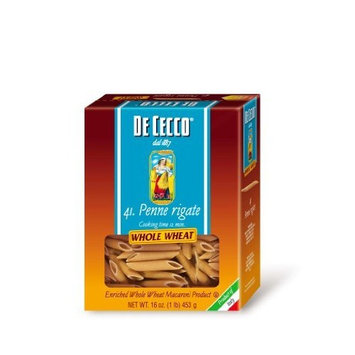 De Cecco Pasta, Whole Wheat Penne Rigate, 16-Ounce Boxes (Pack of 5)