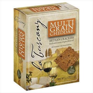 La Tuscany 5.5 oz. Multi Grain Cheddar Artisan Crackers Case Of 15