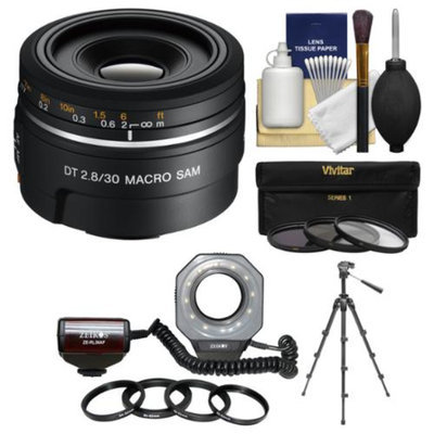 Sony Alpha A-Mount 30mm f/2.8 DT Macro SAM Lens with Macro Ringlight + Tripod + 3 Filters + Kit for SLT-A37, A57, A58, A65, A77, A99 DSLR Cameras