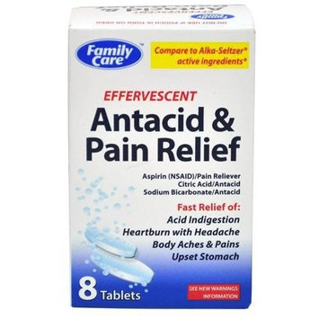 Family Care - Effervescent Antacid & Pain Relief - 8 Tablets