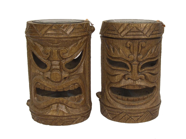 Global Surplus Inc. Garden Oasis 2ct Small Solar Friki Tiki Statues - Dry Bamboo Finish