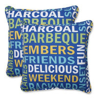 Pillow Perfect Outdoor 2-Piece Square Throw Pillow Set - Blue/Yellow Grillin