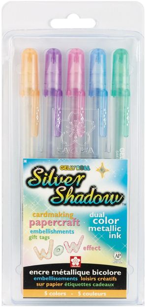 Sakura Gelly Roll Silver Shadow Markers- Set of 5