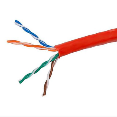 Monoprice 1000FT 24AWG Cat5e 350MHz UTP Stranded, In-Wall Rated (CM), Bulk Ethernet Bare Copper Cable - Red