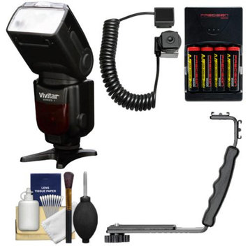 Vivitar Series 1 DF-583 i-TTLPower Zoom DSLR Wireless TTL Flash with Batteries & Charger + Bracket + Cord + Cleaning Kit for Nikon D3200, D3300, D5200, D5300, D7000, D7100, D610 Digital SLR Cameras