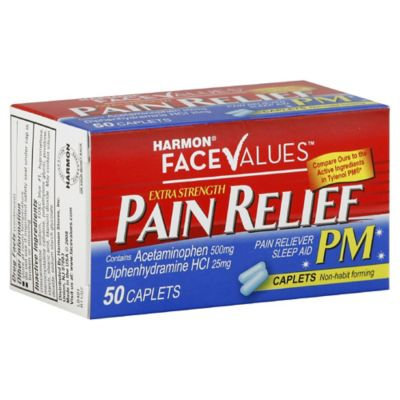 Harmon Face Values 50-Count Extra-Strength Pain Relief PM Caplets