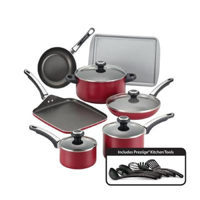 Farberware High Performance Nonstick 17-Piece Cookware Set Color: Red
