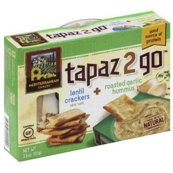 Tapaz 2 Go Sea Salt Lentil Crackers + Roasted Garlic Hummus, 3.6 oz, (Pack of 6)