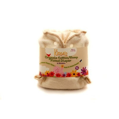 Kissaluvs Organic Cotton/Hemp Fitted Diaper, Unbleached, Newborn 5-15lbs