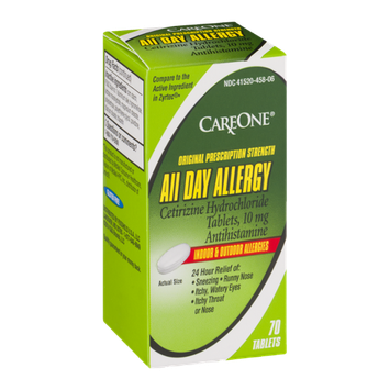 CareOne All Day Allergy Antihistamine Tablets 10 mg Indoor & Outdoor - 70 CT