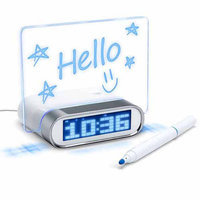 ENHANCE Glowing LED Memo Board Alarm Clock Hub with 4 Universal USB Ports for Smartphones, Tablets, MP3 Players, Laptops and More - Markers Included