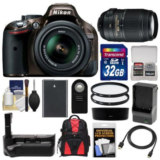 Nikon D5200 Digital SLR Camera & 18-55mm G VR DX AF-S Zoom Lens (Bronze) with 55-300mm VR Lens + 32GB Card + Backpack + Grip + Battery & Charger + Filters Kit