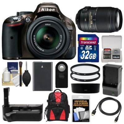Nikon D5200 Digital SLR Camera & 18-55mm G VR DX AF-S Zoom Lens (Bronze) with 55-300mm VR Lens + 32GB Card + Backpack + Grip + Battery & Charger + Filters Kit