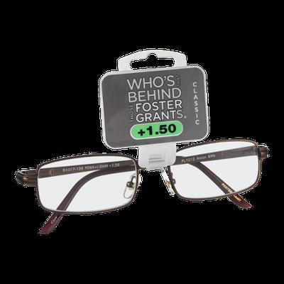Foster Grants Non-Prescription Glasses Classic +1.50 Axton BRN