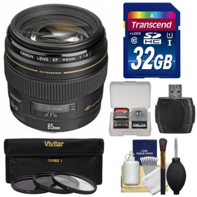 Canon EF 85mm f/1.8 USM Lens with 3 Filters + 32GB SD Card + Kit for EOS 6D, 70D, 5D Mark II III, Rebel T3, T3i, T4i, T5, T5i, SL1 DSLR Cameras