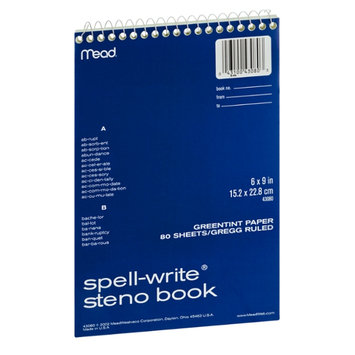 Mead Spell-Write Greentint 80 Sheet/Gregg Ruled 6 x 9 in Steno Book