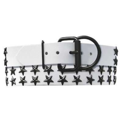 Platinum Pets White Genuine Leather Dog Collar with Stars - Black