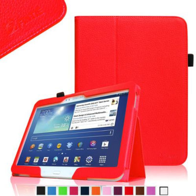 Fintie Folio Slim Leather Case for Samsung Galaxy Tab 3 10.1 inch Tablet with Stylus Loop, Red