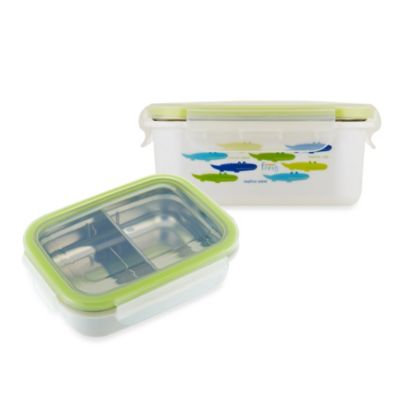 Innobaby Keepin' Fresh Double-Lined Stainless Bento LunchBox in Alligator/Green