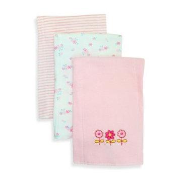 SpaSilk 100% Cotton 3 Pack Burpcloths - Pink Flowers