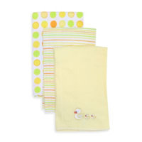 SpaSilk 100% Cotton 3 Pack Burpcloths - Yellow Duck