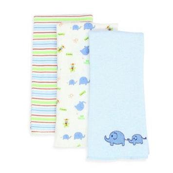 SpaSilk 100% Cotton 3 Pack Burpcloths - Blue Elephant