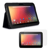 Black Double-Fold Folio Case with Screen Protector for Google Nexus 10