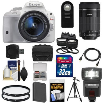 Canon EOS Rebel SL1 Digital SLR Camera & EF-S 18-55mm IS Lens (White) with 55-250mm IS STM Lens + 32GB Card + Battery + Case + Flash + Tele/Wide Lenses Kit