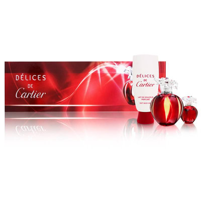 Cartier - Delices de Cartier Coffret: Eau De Toilette Spray 100ml/3.3oz + Body Milk 100ml/3.3oz + Miniature 5ml/0.16oz 2pcs