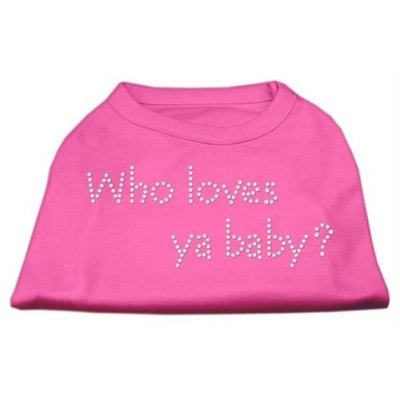 Mirage Pet Products 5282 XXXLBPK Who Loves Ya Baby? Rhinestone Shirts Bright Pink XXXL 20