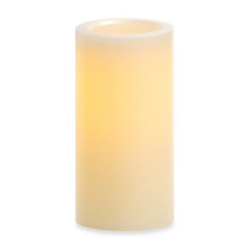 Candle Impressions 4-Inch x 8-Inch Flameless Wax Pillar Candle with Smooth Vanilla Fragrance