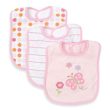 SpaSilk 3-Pack Terry Bib with Butterfly Applique in Pink