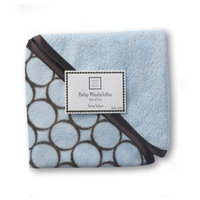 SwaddleDesigns Cotton Baby Washcloths, Brown Mod Circles, Set of 2 in Pastel Blue