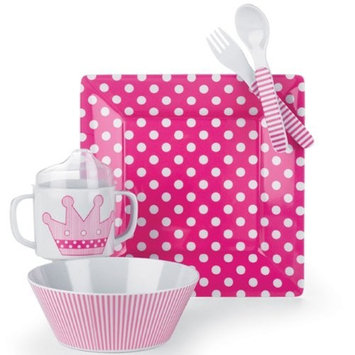 Mud Pie Baby Little Princess Polka-Dot, Stripe and Crown Plate, Bowl, Cup, Fork, and Spoon Feeding Set, Pink