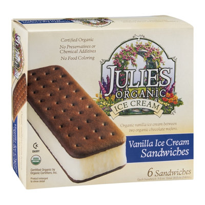 Julie's Organic Ice Cream Sandwiches Vanilla - 6 CT