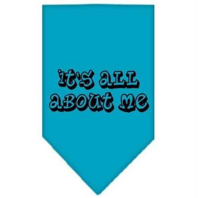 Mirage Pet Products 6644 LGTQ Its All About Me Screen Print Bandana Turquoise Large